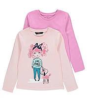 Набор детских трикотажных футболок с длинным рукавом (реглан) для девочки от George