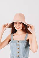 Шляпа широкополая Доминика пудровая