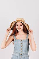 Шляпа широкополая Байс песочно-капучиновая