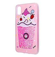 Чехол-накладка (Жидкий Блеск) Falabella для IPhone X / Xs Pink