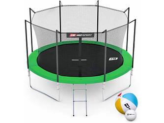 Батут Hop-Sport 10ft (305cm) green із внутрішньою сіткою (4 ноги)