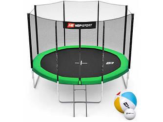 Батут Hop-Sport 10ft (305cm) green із зовнішнію сіткою (4 ноги)