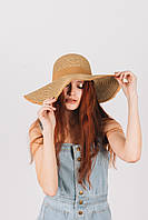 Шляпа широкополая Ангелика капучиновая