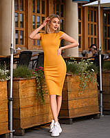 Платье (48-52) футляр Midi горчичное, фото 1