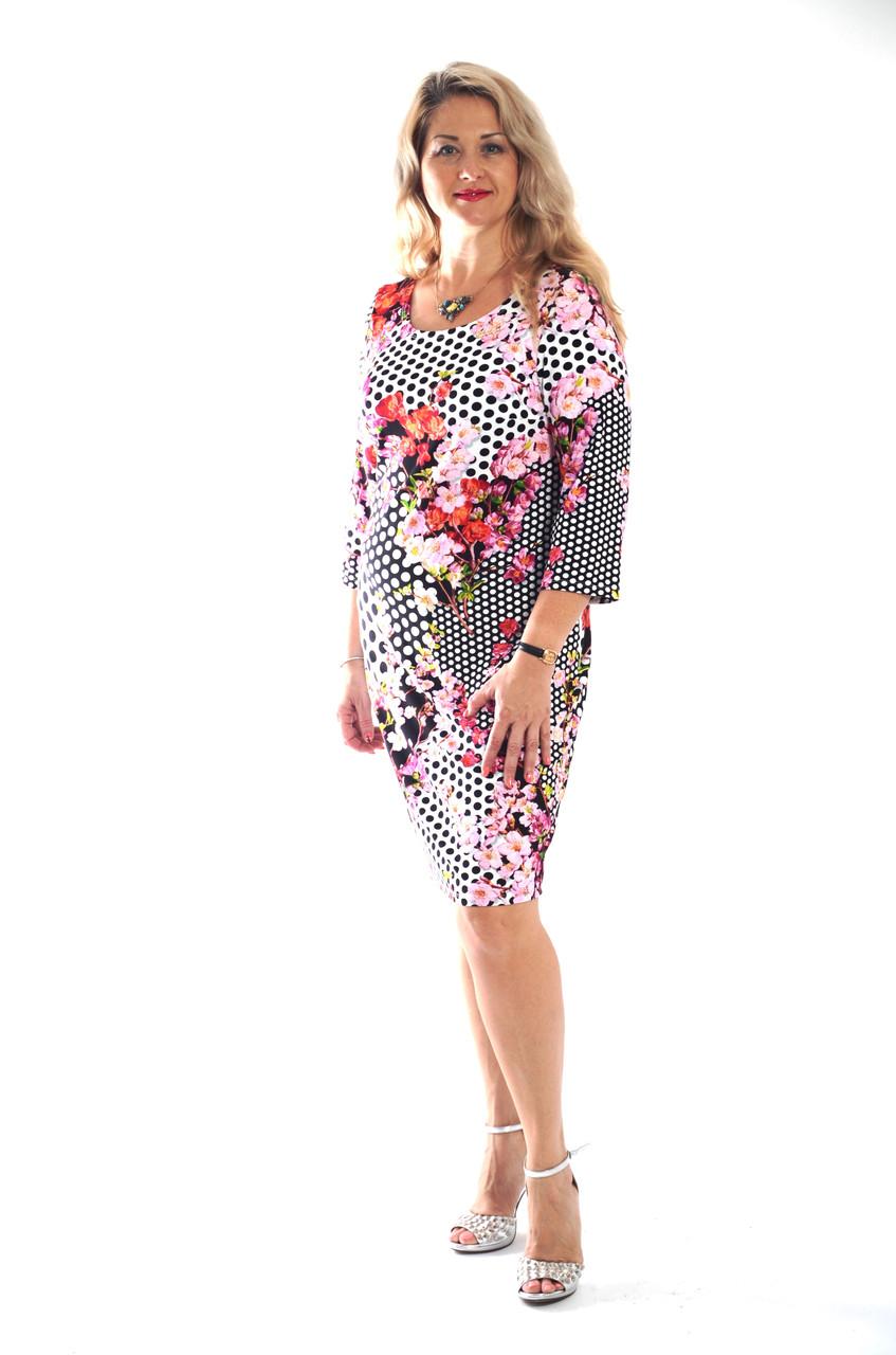Платье трикотажное сакура  в горох пл 008-1 черкассы вискоза хлопок