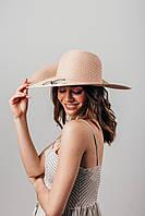 Шляпа широкополая Элена пудровая