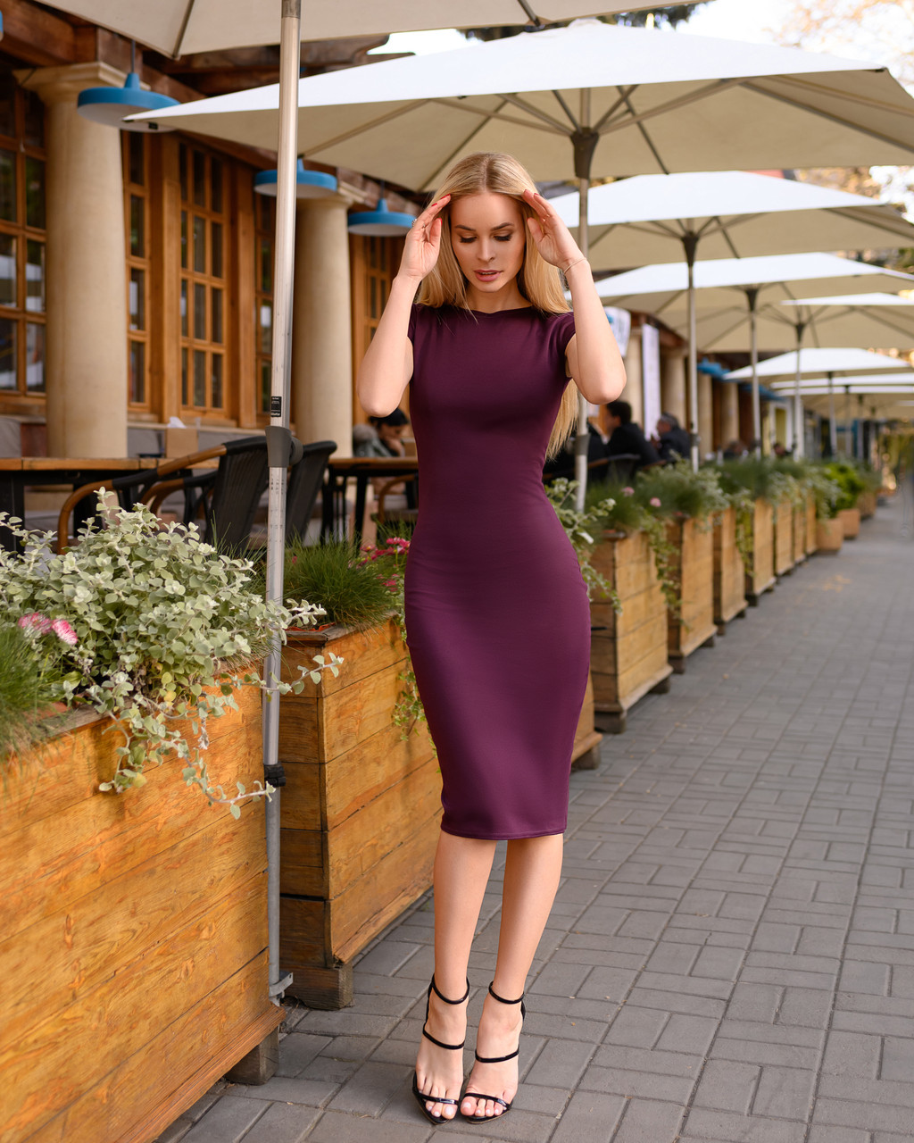 Платье (48-52) футляр Midi слива
