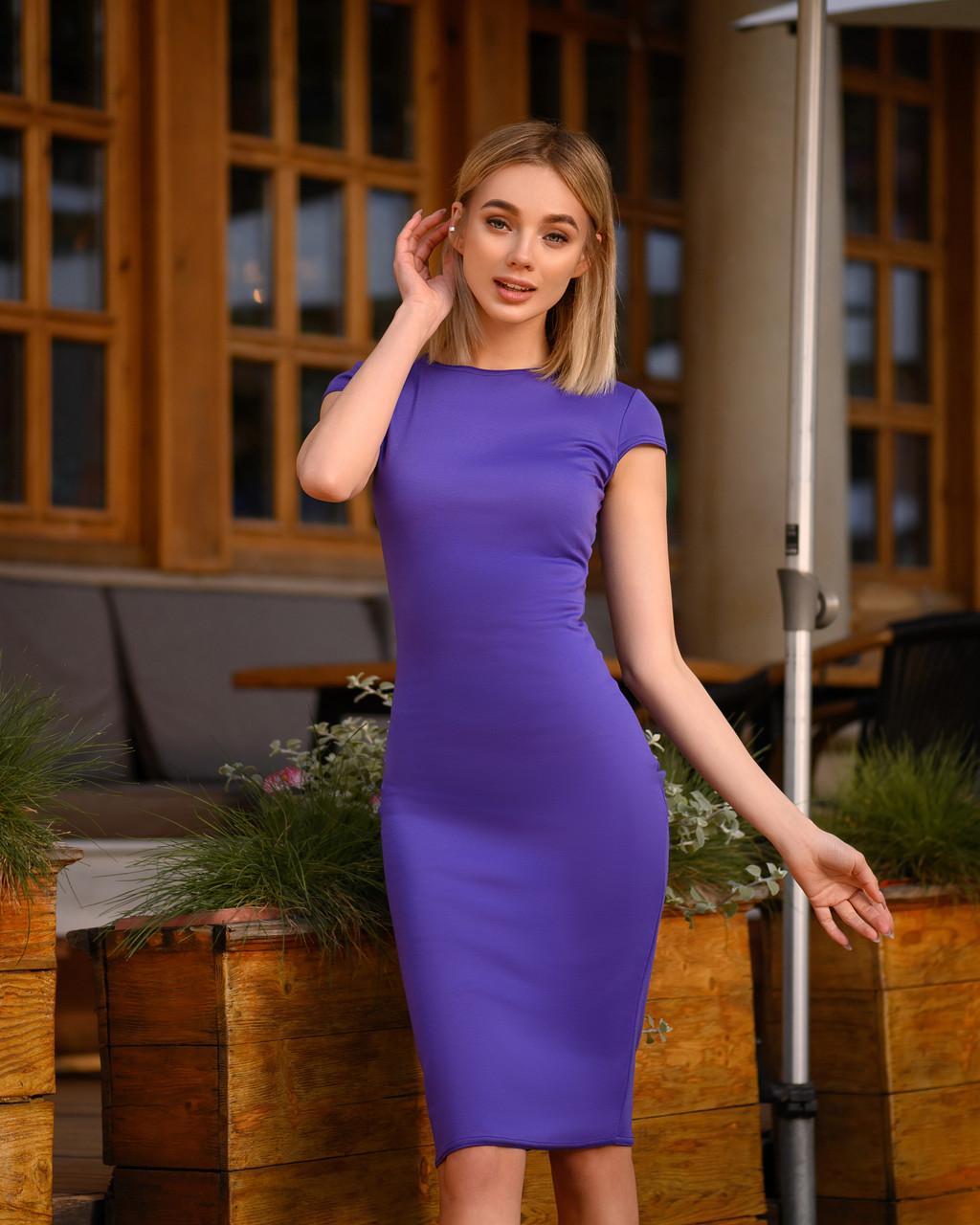 Платье футляр миди, фиолет, фото 1