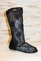 Сапоги летние женские черные ажурные Б219, фото 1