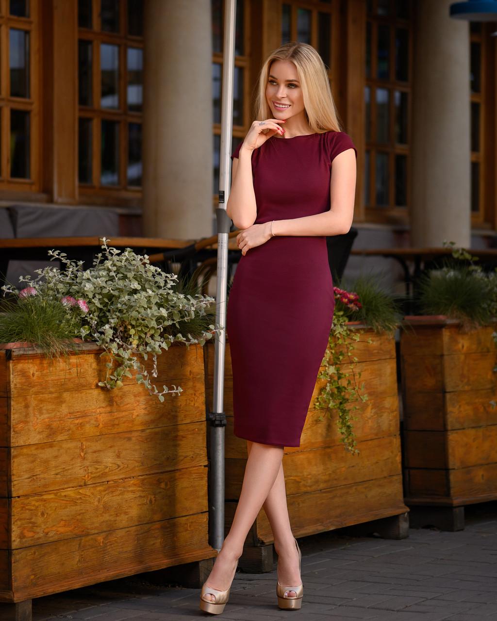 Платье (48-52) футляр Midi бордо