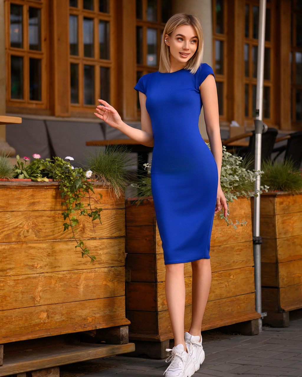 Платье футляр Midi синее