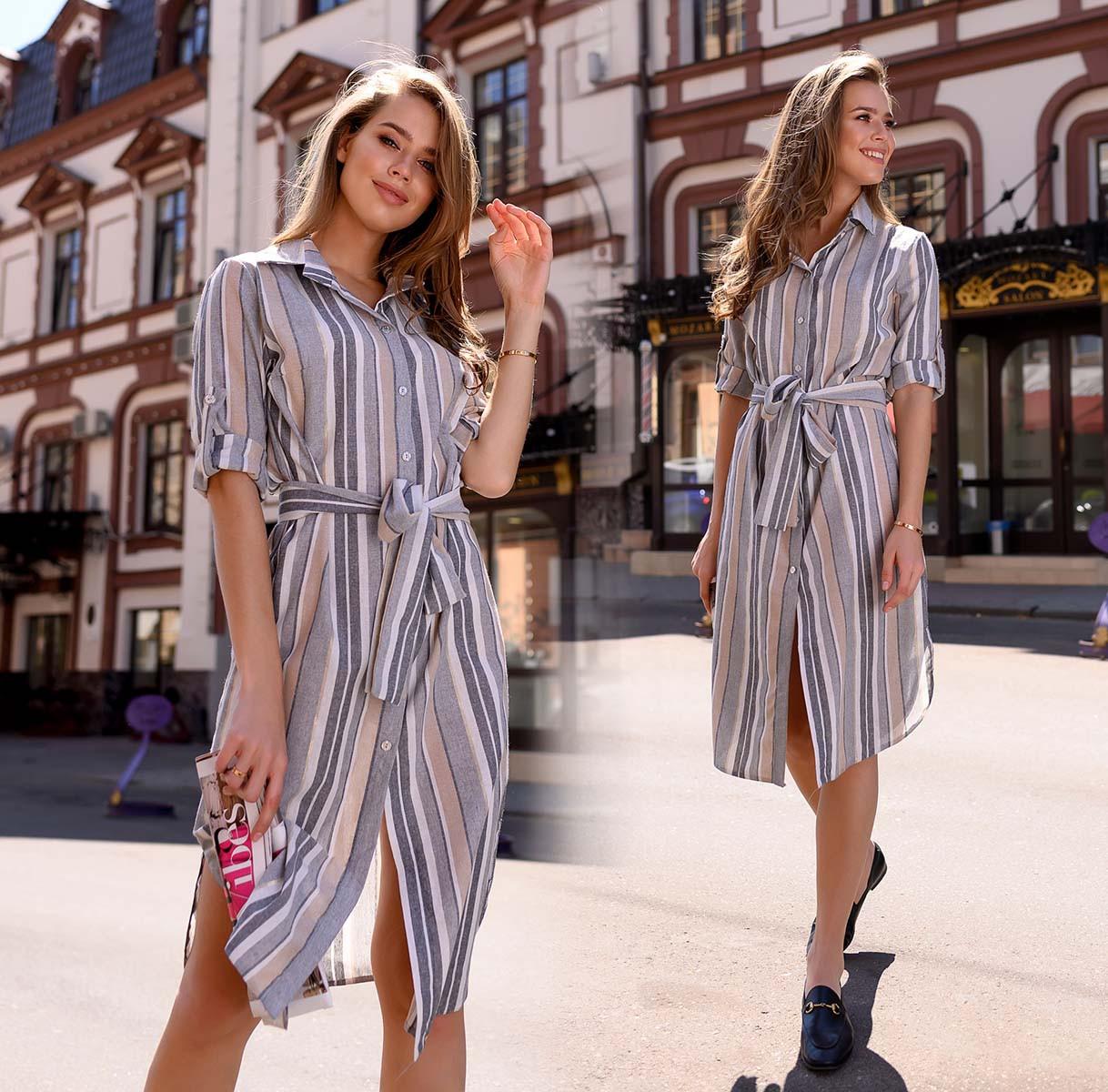"""Женское стильное платье-рубашка до больших размеров 41289 """"Лён Полоска  Разрезы"""""""