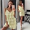 Платье женское романтичное нежное с оборками мини Smld3376