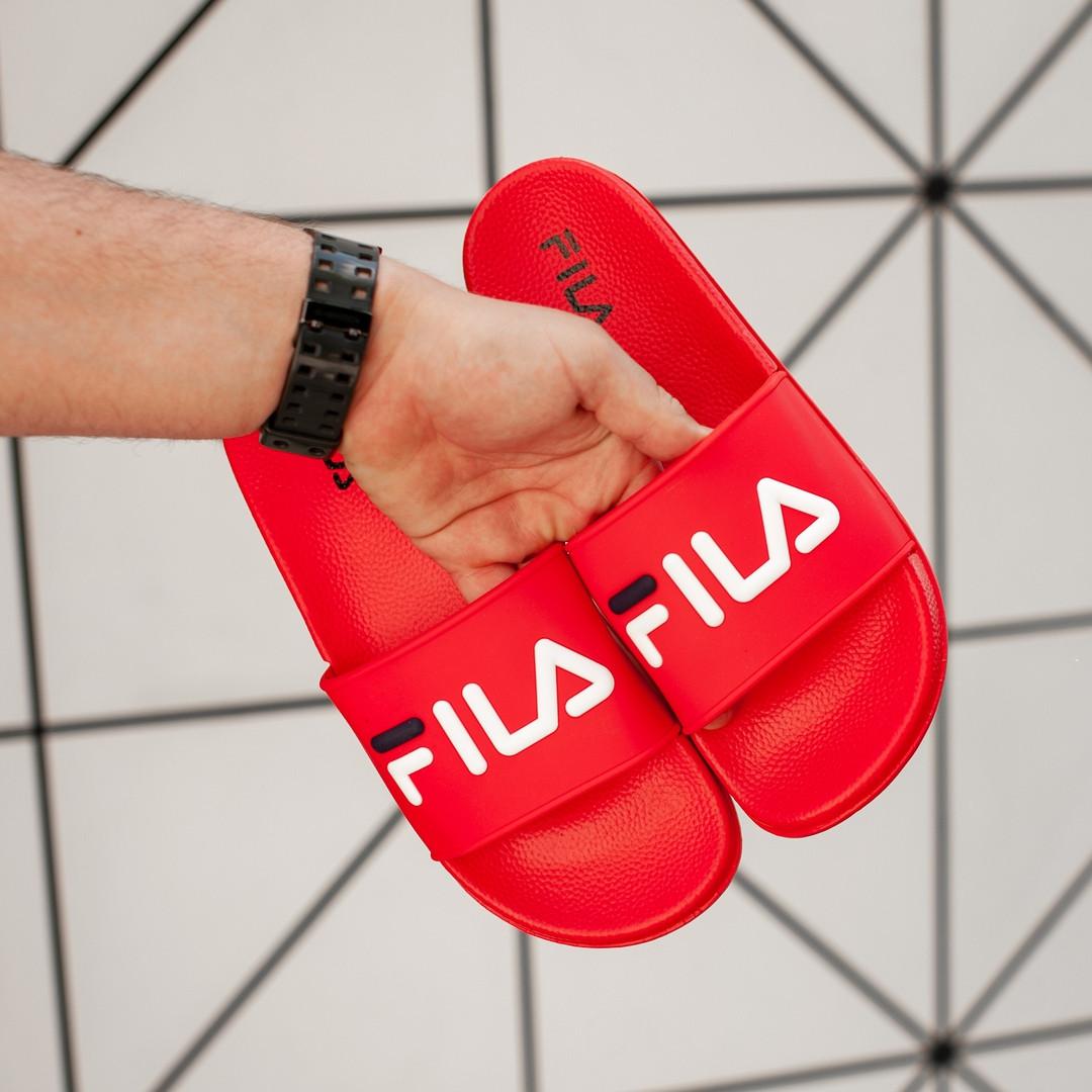 Мужские сланцы Fila (full red), тапочки Fila, шлепанцы Fila, сланцы Фила, тапочки Фила