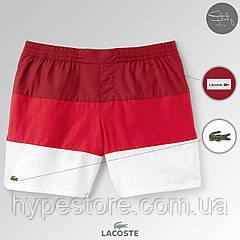 Мужские пляжные шорты, плавательные шорты, чоловічі шорти Lacoste ТОП-Реплика / Логотип: вышивка