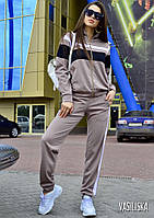 Костюм женский стильный бомбер на молнии с полосками и штаны с лампасами Dv1593