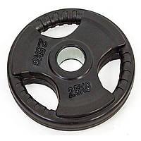 БЛИНЫ (диски) обрезиненные с тройным хватом и металлической втулкой d-52мм 2,5 кг TA-8122- 2,5