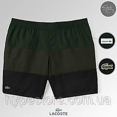 Мужские пляжные шорты, плавательные шорты, чоловічі шорти Lacoste ТОП-Реплика / Логотип: вышивка (комби)