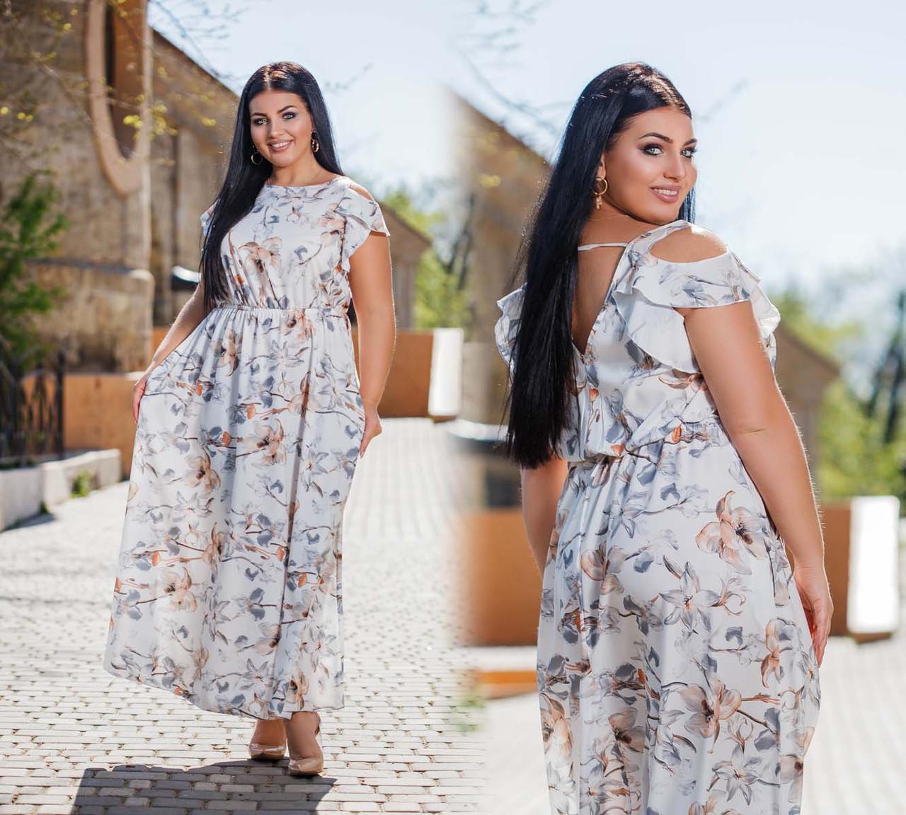 """Летнее длинное женское платье в больших размерах 42301-1 """"Софт Цветы Плечи Рюши"""""""