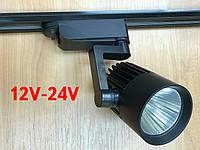 Светодиодный трековый светильник 20W 12-24V DC 4000К черный Код.59578