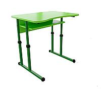 Парта 1 с вырезом регулируемая Металл-Дизайн Береза карельская Зеленый