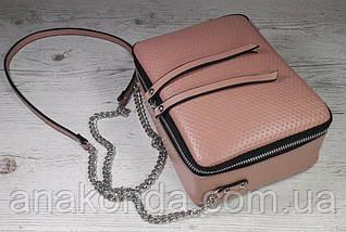 69-1 Натуральная кожа Сумка женская пудра кроссбоди кожаная сумочка на цепочке розовая сумка через плечо, фото 2