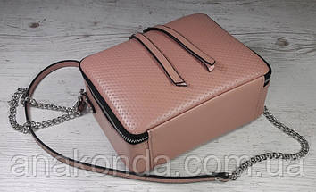 69-1 Натуральная кожа Сумка женская пудра кроссбоди кожаная сумочка на цепочке розовая сумка через плечо, фото 3