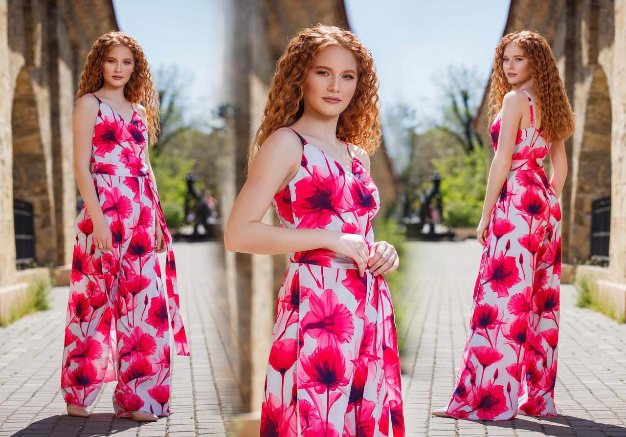 """Элегантный женский брючный комбинезон 513-1 """"Софт Цветы Запах Разрезы"""""""