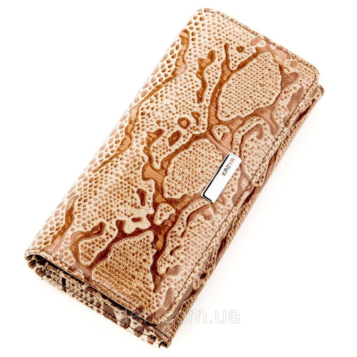 Кошелек женский KARYA 17263 кожаный Светло-коричневый, Коричневый