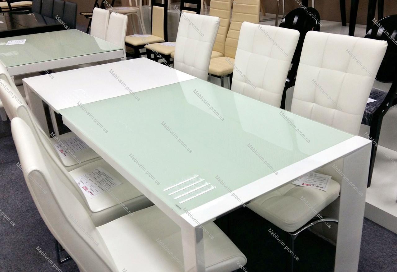Стол  AF1017DT akh, стекло-белое+белый глянец MDF,каркас-белый