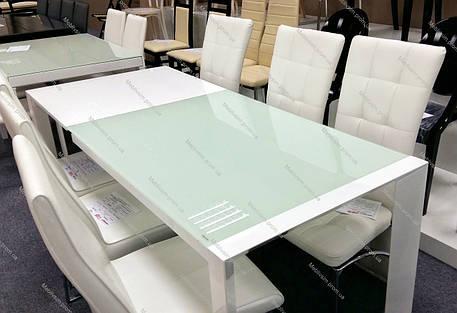 Стол  AF1017DT akh, стекло-белое+белый глянец MDF,каркас-белый, фото 2