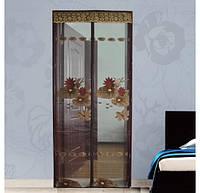 Антимоскитная сетка дверная на магните 210х90 Коричневый Ажур