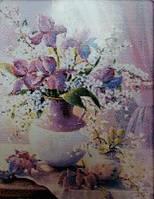 Пурпурная  ваза 2 Набор для вышивания крестиком с печатью на ткани 14ст