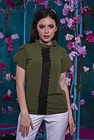 Летняя женская стильная блуза декорировано кружевом (хаки)  Арт-2539/64, фото 1