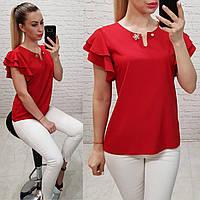 Блузка /блуза с брошью и рюшем на плечах, модель 166 ,цвет красный