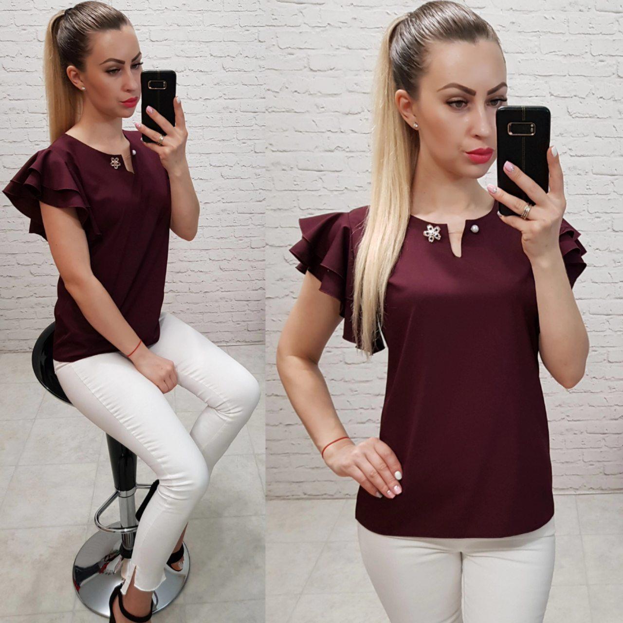 Блузка /блуза с брошью и рюшем на плечах, модель 166 ,цвет бордо