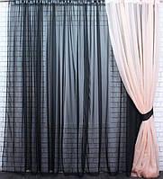 Комплект гардина с шторой из шифона. Цвет черный с персиковым 025дк