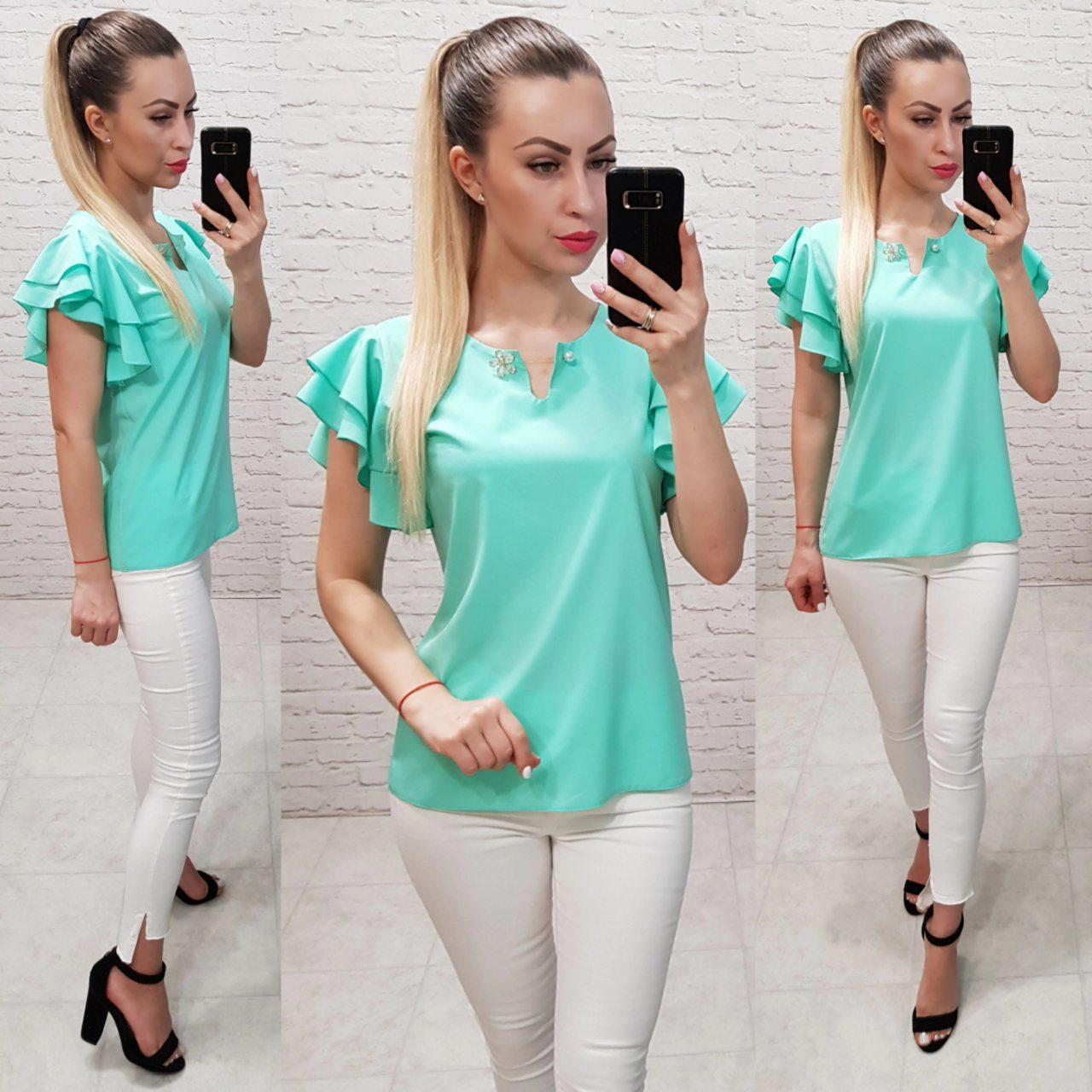 Блузка /блуза з брошкою і рюшем на плечах, модель 166 ,колір бірюзовий