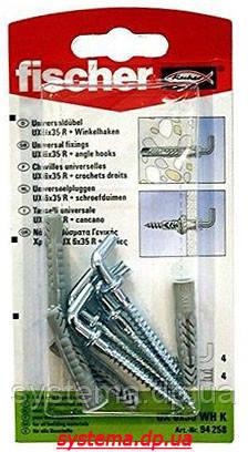 Fischer UX 6 x 35 WH K - Универсальный дюбель с прямым крюком, оцинкованный