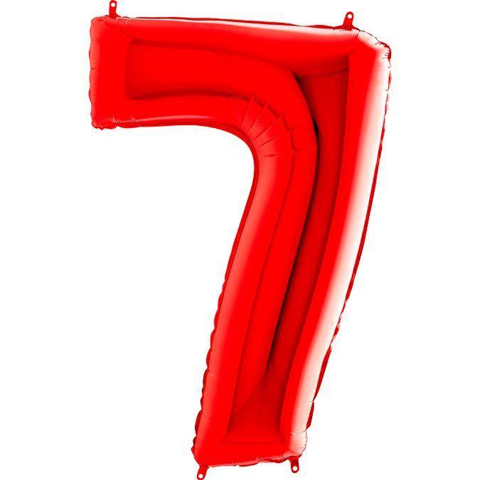 Фольгированная цифра 7 (40') Grabo красная, 100 см