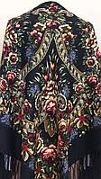 Хустина з квітами та орнаментом Темно-коричнева 140*140 см, фото 1