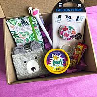 Surprise Box подарок для девушки со слаймом и блокнотом фламинго