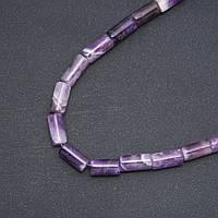 Бусины натуральный камень Аметист цилиндр d-8х17мм нитка L-39 см