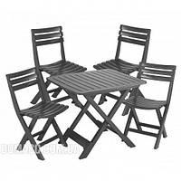 Комплект садових меблів Camping Set стіл + 4 стільця антрацит, фото 1