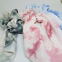 Украшение-резинка для волос с платком Акварель голубая