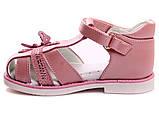 Босоніжки для дівчинки Казка Сандалі шкіряні ортопедичні з твердою п'ятою і закритим носком, 23 р (рожеві), фото 2