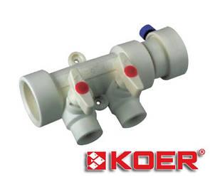 Коллектор с шаровыми кранами Koer 40х20 на 2 выхода полипропиленовый