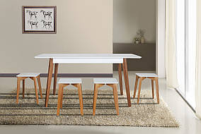 Комплект Сингл (стол+4 табурета) Белая эмаль+Орех (Микс мебель)