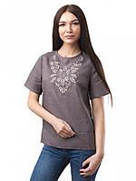 Футболка блуза женская из натурального льна с вышивкой