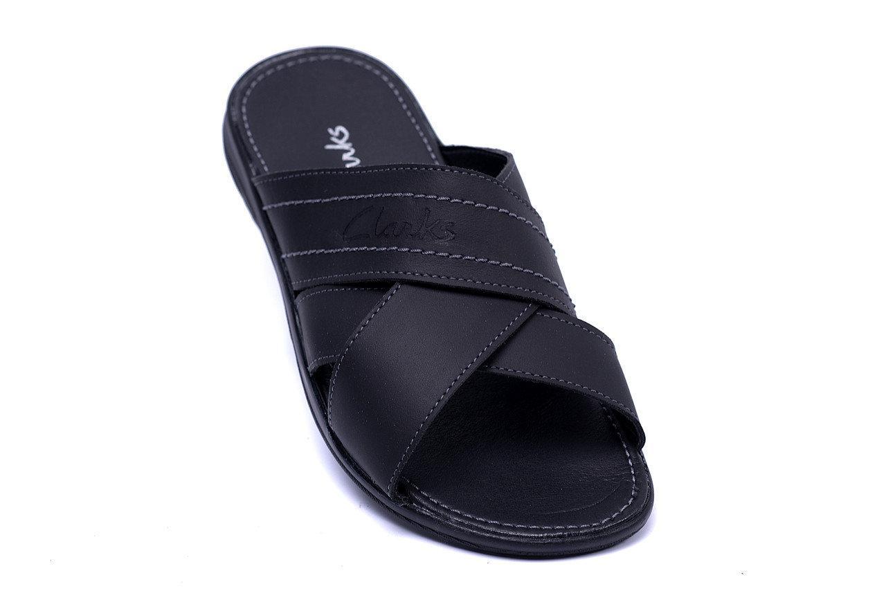 d9ab0703 Мужские кожаные летние шлепанцы-сланцы Yuves Clarks Black (реплика) -  Интернет-магазин
